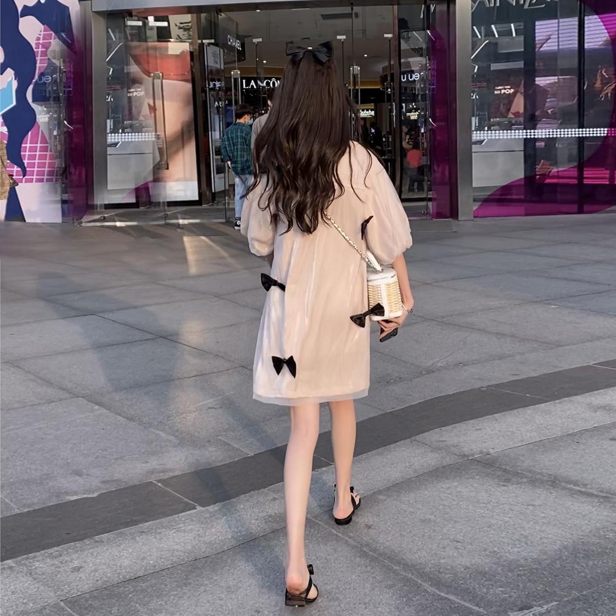 婕米家孕妇装夏装洋气公主蝴蝶结夏天裙子中长款减龄网纱连衣裙子图片