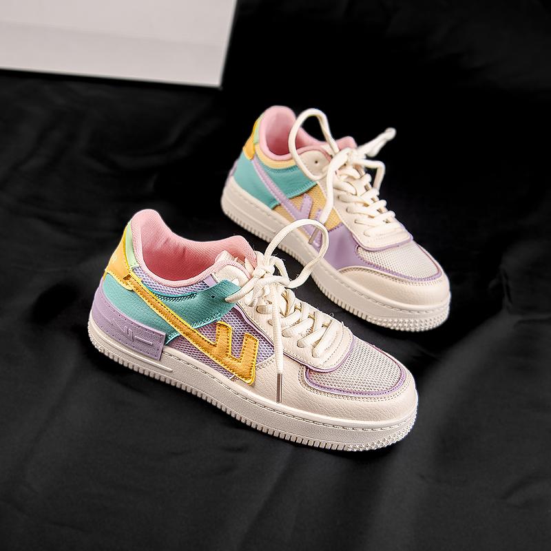 回力ow联名樱花空军一号aj女男鞋2020新款情侣高低帮板运动小白鞋图片