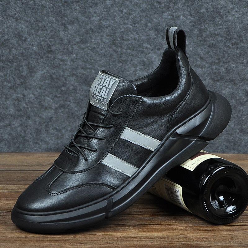 欧美大牌运动鞋男跑步鞋韩版头层牛皮休闲透气系带秋冬新款男鞋子
