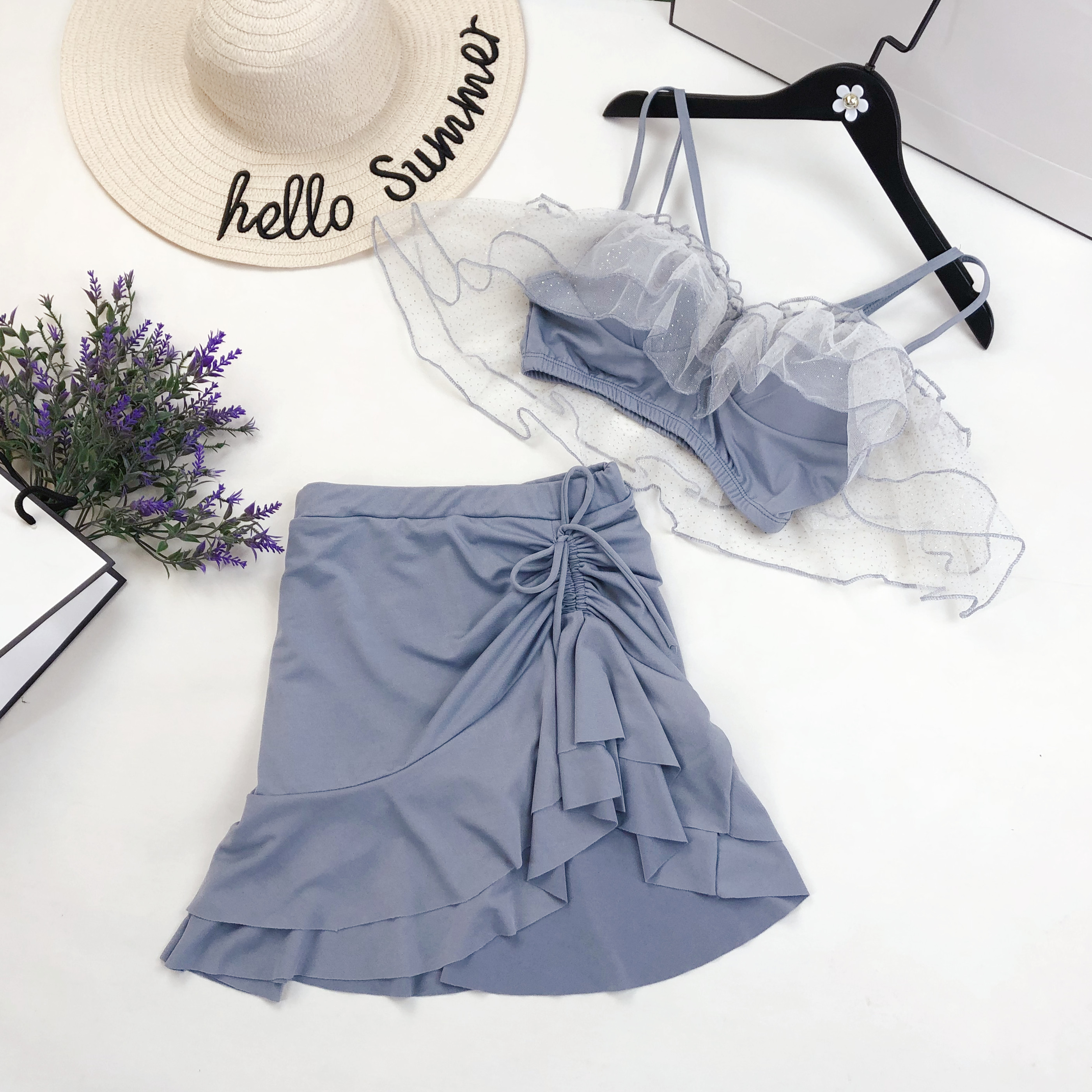 女两件套韩国ins风仙女范甜美泳衣