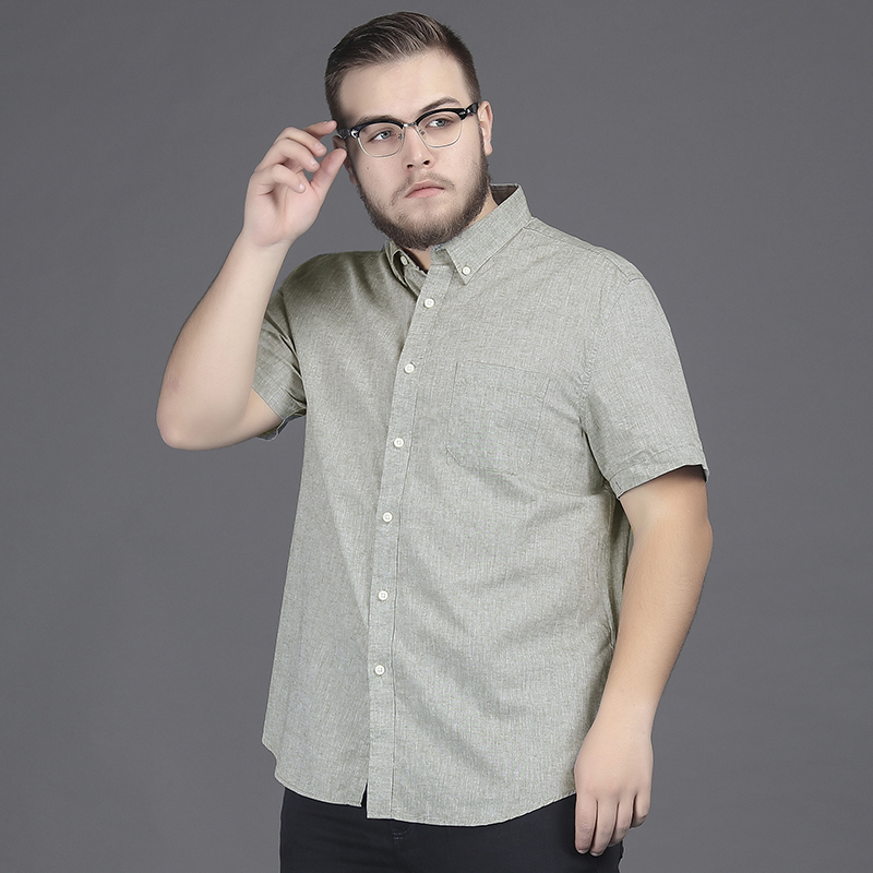 Fat Linen Shirt Mens short sleeve large loose extra large cotton hemp half sleeve shirt fattening and fattening