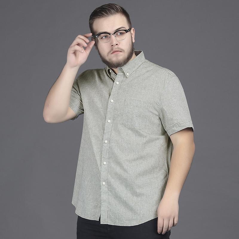 胖子亚麻衬衫男短袖大码宽松特大号棉麻半袖衬衣加肥加大肥佬夏装