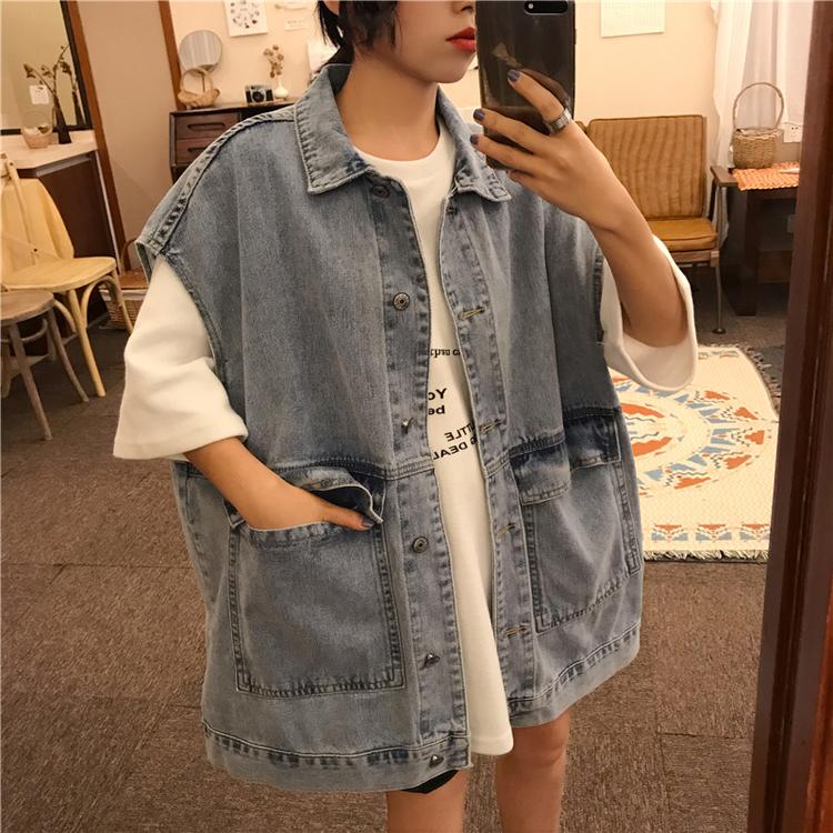 Korean retro Denim Jacket Womens large loose and thin waistcoat with BF style sleeveless vest