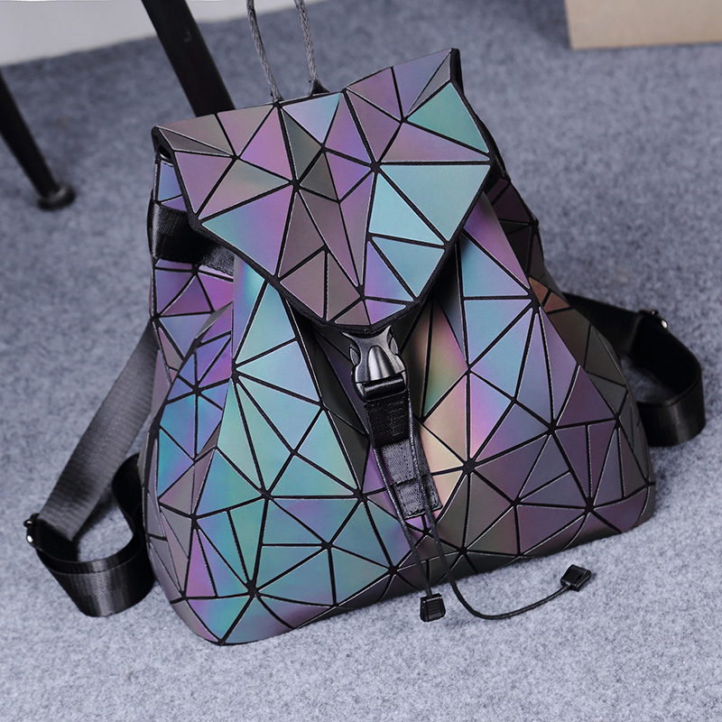 Backpack women Lingge 2020 new star same spring and summer backpack women geometric folding computer bag travel in Japan