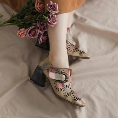 脱毒罂粟 夏天的优雅 牛皮方头镂空高跟粗跟真皮复古凉鞋女鞋英伦