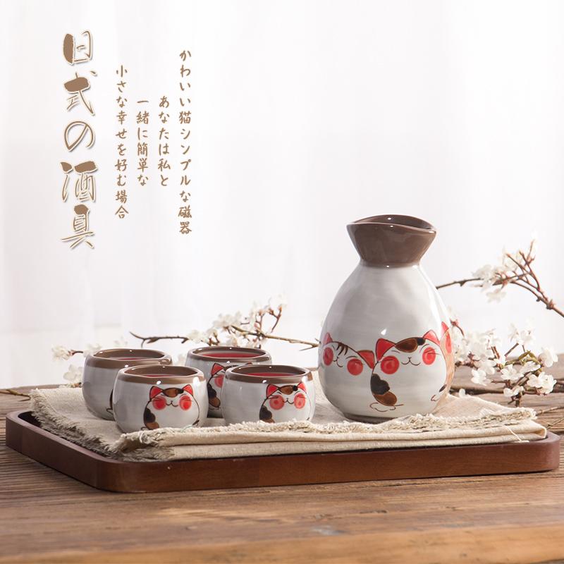 窑匠猫咪酒具套装  白酒清酒酒具 日式陶瓷酒杯 酒壶 仿古