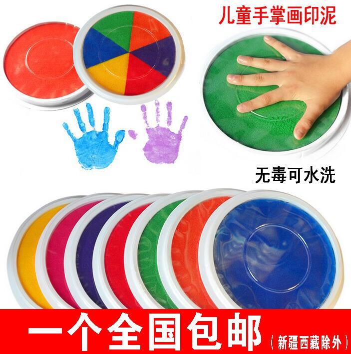 Детей руки палец живопись штемпельная подушечка печать тайвань младенец живопись граффити пальма живопись цвет пигмент неядовитый моющиеся большая коробка