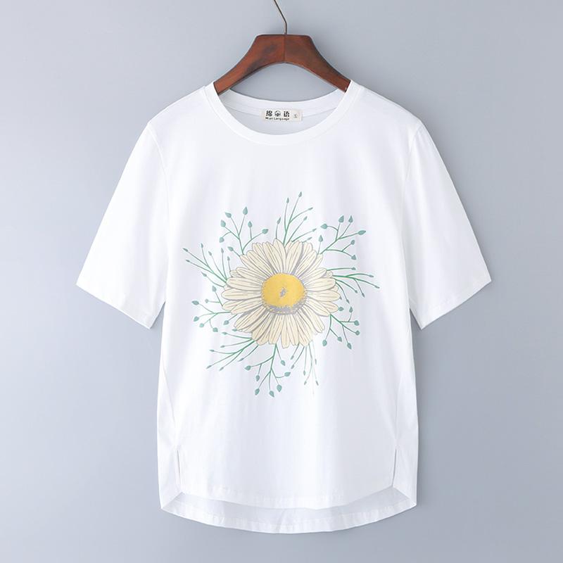 短袖T恤女2019新款纯棉宽松体桖大码中年妈妈夏装上衣百搭半袖