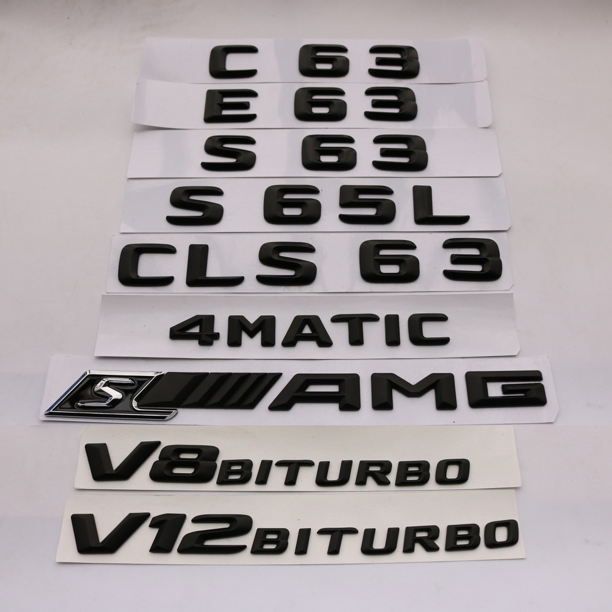 奔驰车标C63S A45 GLA45 CLA45 CLS63 E63 S AMG字标后尾标志黑色
