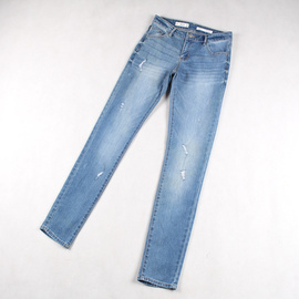 欧美单 春夏季女弹力修身牛仔小脚裤 女生显瘦百搭破洞休闲长裤