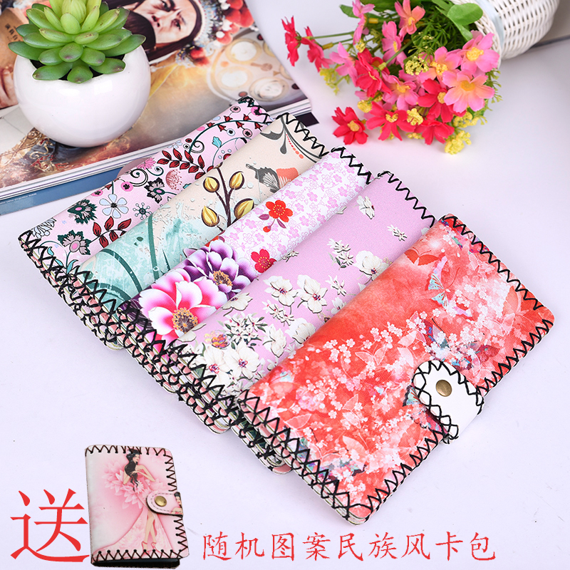 Ethnic style Chinese style hand made wallet retro printed girls long real yak skin gift wallet in Lijiang, Yunnan
