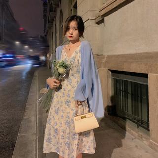 【胡楚靓 海德公园】刺绣碎花雪纺连衣裙女夏长款法式v领吊带裙