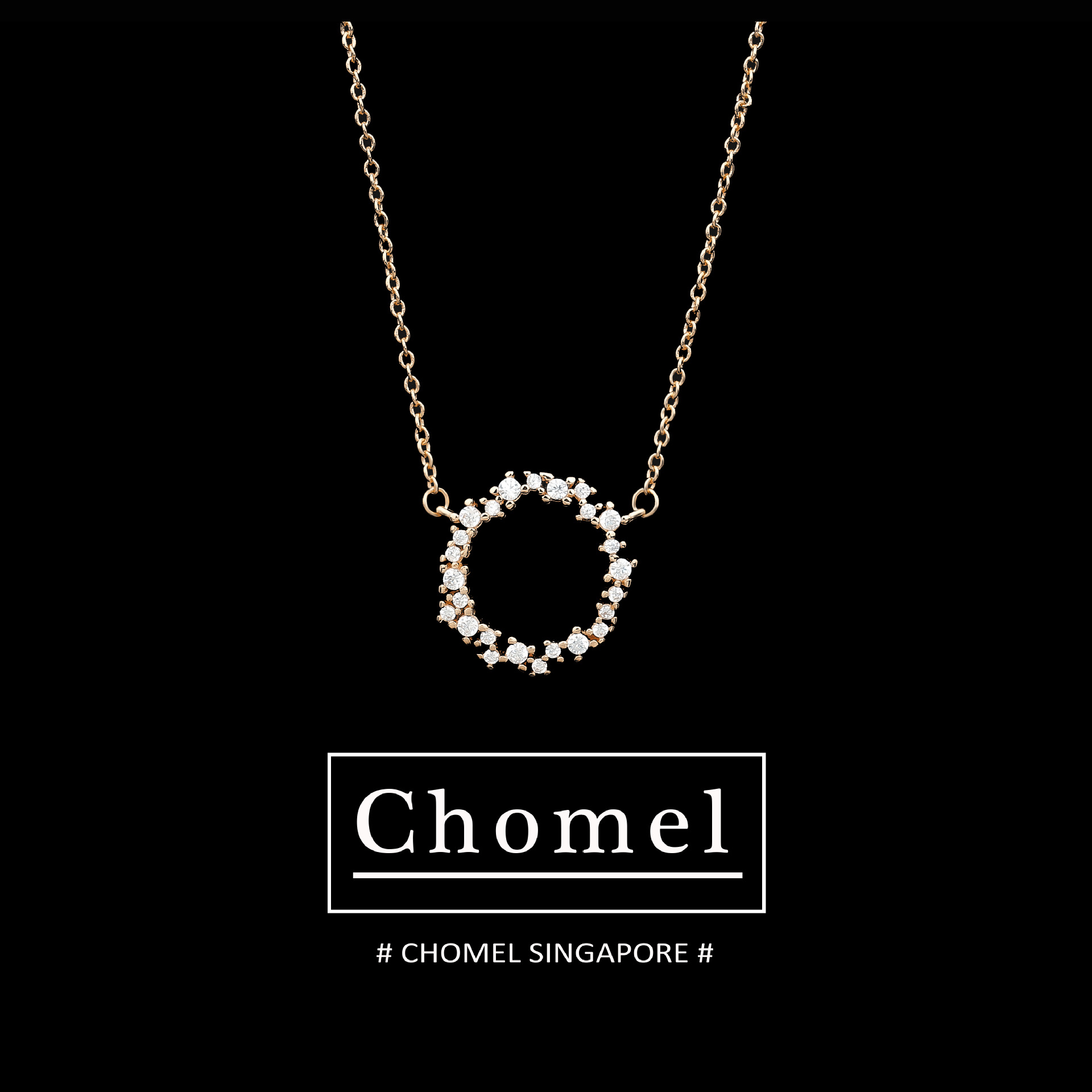 Singapore chomel necklace, womens versatile, fashionable and bright, round diamond, fresh student style, creative design of clavicle chain
