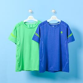儿童速干t恤男童短袖速干上衣中大童运动透气短袖纯色夏季速干T恤图片
