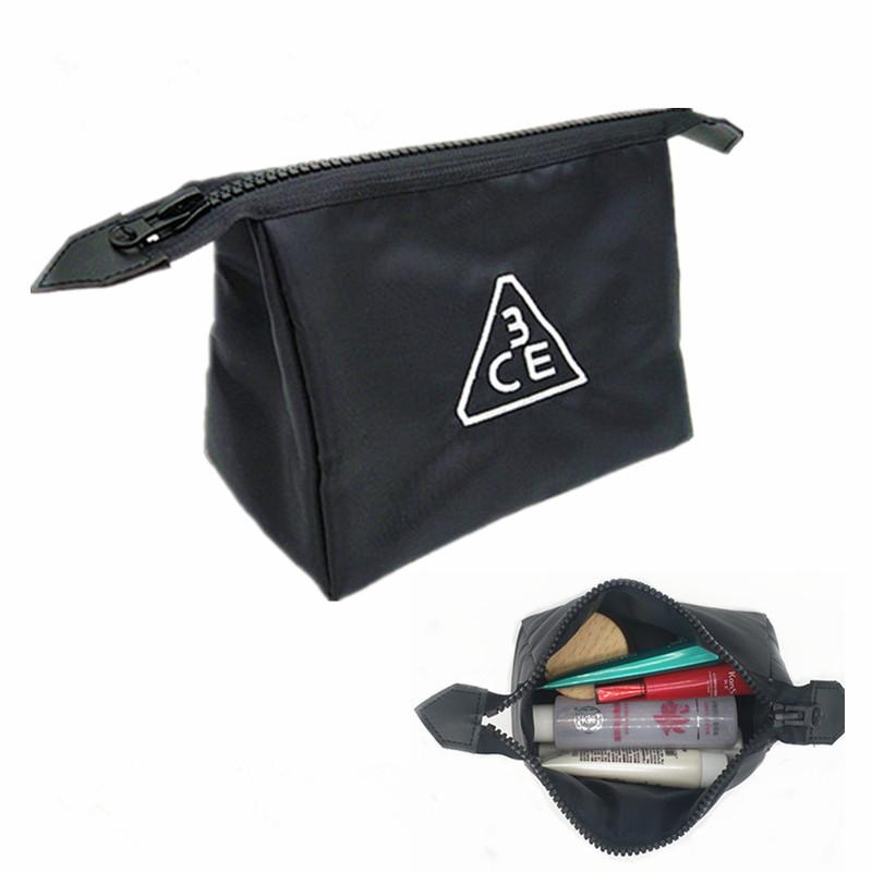 新韩国3ce化妆包刺绣便携大容量简约收纳袋旅行洗漱包专柜赠送品