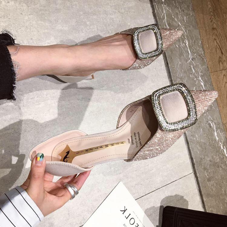 高跟鞋2021春新款法式少女粗跟网红尖头鞋百搭超烫仙女风中空单鞋