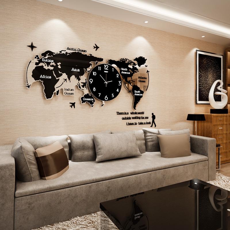 Карта мира часы декоративный творческий часы настенные часы гостиная современный простой личность нордический стиль вешать стол атмосфера