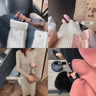金蘑菇菇 拯救秋冬衣柜的針織裙百搭修身顯瘦坑條毛衣打底連衣裙