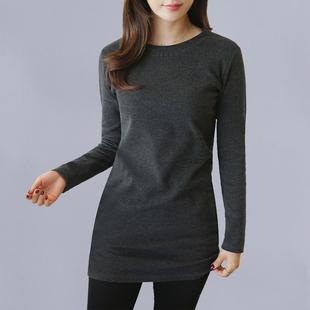 新款女式長袖顯瘦韓版百搭t恤女士春秋季裝中長款修身秋冬打底衫T