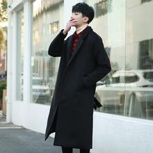 毛呢大衣男中长款风衣韩版帅气学生潮英伦风大衣过膝男士呢子外套