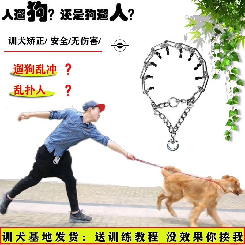 Dog collar explosion-proof impact neck collar large dog p-chain walk dog artifact training dog to prevent wolf bite