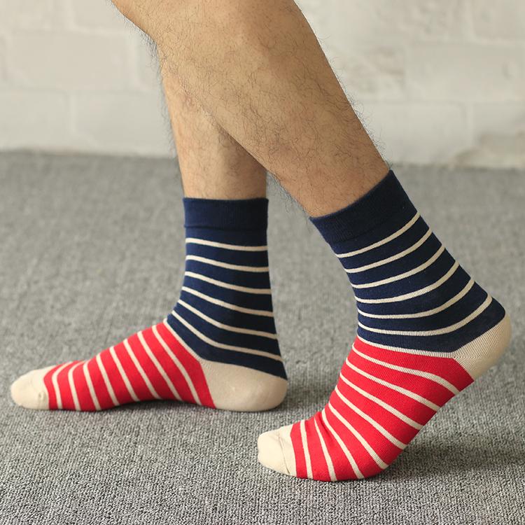 5双装 秋季男士长筒袜子男纯棉中筒袜日系港风复古条纹潮流运动袜