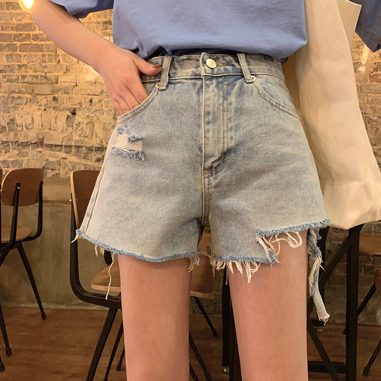 2020 new summer Korean Retro High Waist showing thin hole denim shorts girl students need wide leg pants trend