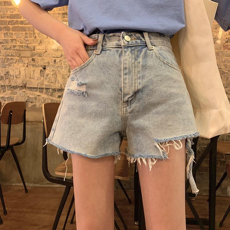 2020新款夏季韩版复古高腰显瘦破洞牛仔短裤女学生须须边阔腿裤潮