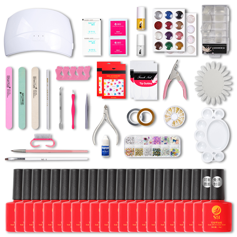 A full set of nail tools set up shop for beginners to use nail polish, glue baking lamp, drying and phototherapy machine LED lamp.