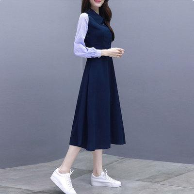 2020秋季新款女装长款气质修身显瘦适合胯大的a字连衣裙春季长裙