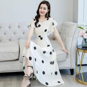 法式高端短袖雪纺甜美连衣裙女2021年夏季新款气质显瘦夏天长裙子