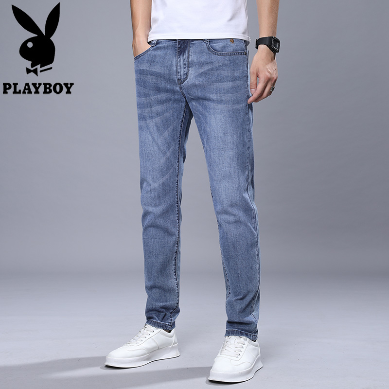 Playboy mens jeans show thin in summer youth versatile fashion thin slim fit Korean long pants