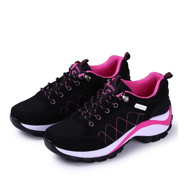 Summer travel shoes womens inner increase sports shoes slope heel summer mesh breathable wave shoes soft sole anti slip running shoes