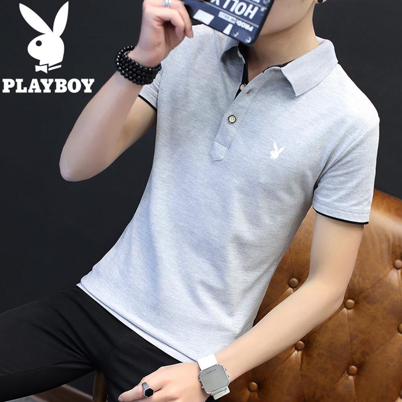 花花公子2019夏季新款男士纯棉有带领短袖T恤潮流半袖翻领POLO衫11月29日最新优惠
