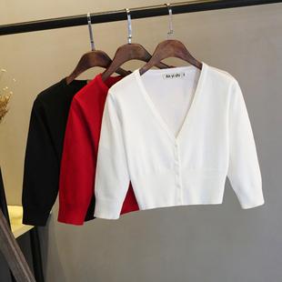 新款秋季短款高腰外套披肩小個子收腰修身百搭中袖針織女開衫外披