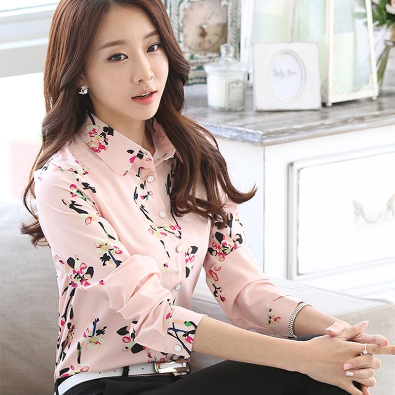 Ежедневных печатных рубашка женская длинный рукав тонкий похудения цветок весны блузка размер диких цветочные шифона дюймовый костюм
