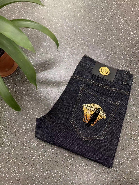 欧洲站男装春夏男士休闲商务刺绣瓦萨高品质欧货时尚普洗牛仔裤