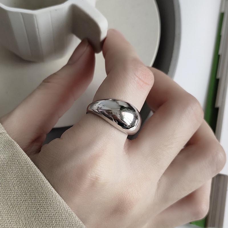 纯银戒指女日韩指环食指INS光面极简不规则潮人网红S925
