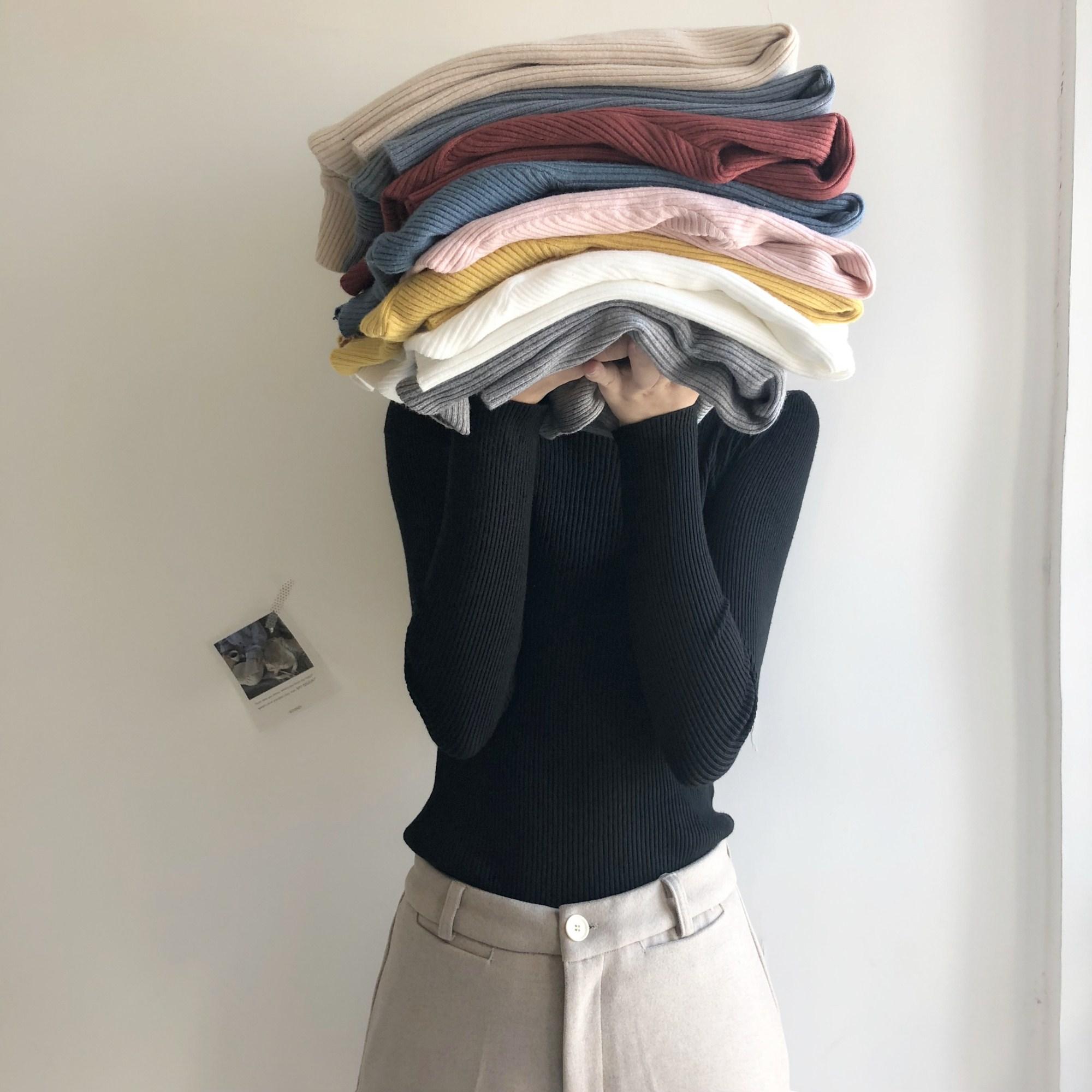 秋冬新款韓版氣質純色半高領針織衫修身顯瘦百搭簡約打底衫女裝