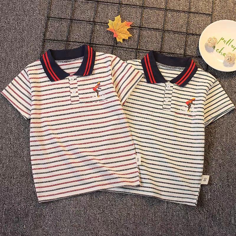 Boys polo shirt single short sleeve T-shirt childrens 2020 new childrens baby summer sports stripe casual