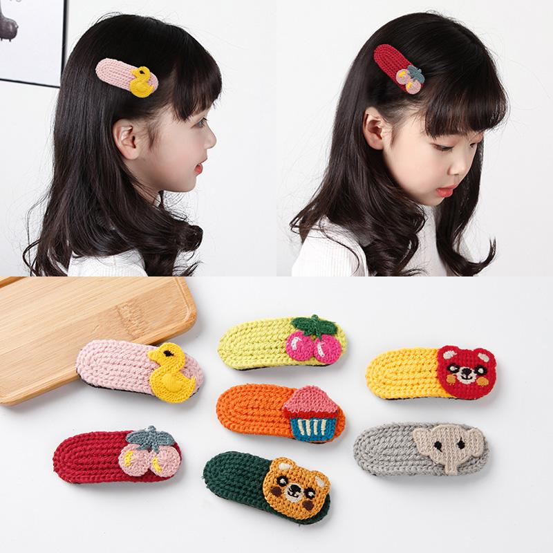 儿童发夹头饰韩国宝宝可爱水果动物针织发卡小女孩不伤发边夹发饰10-11新券