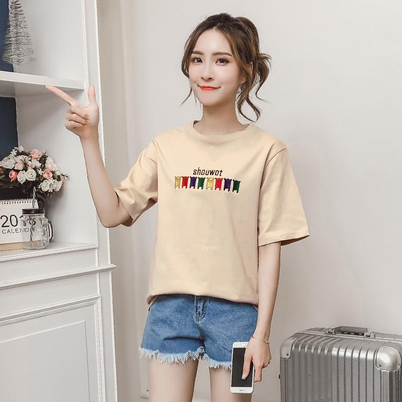 实拍韩版学生t恤女春夏新款宽松百搭字母短袖打底衫女半袖上衣体