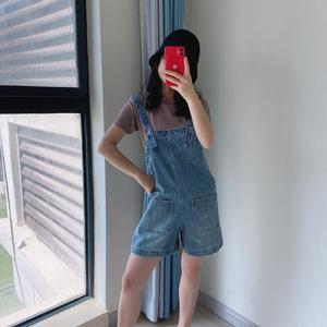 2020夏新款大恩诚地素百搭减龄休闲背带裤韩版牛仔短裤女2C2R004