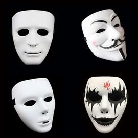 儿童节成人面具儿童全脸舞会步舞街舞男女白色鬼脸恐怖舞客手绘