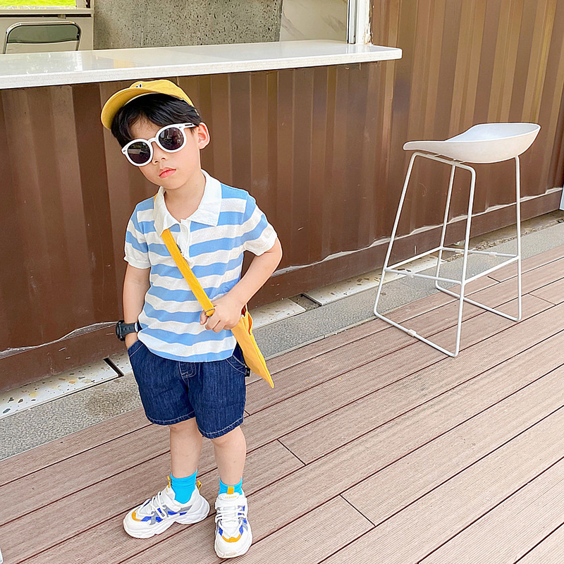 Childrens clothing boys Polo Shirt Short Sleeve childrens suit baby Jeans Shorts summer stripe versatile T-shirt