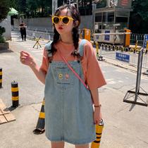 大码胖妹妹牛仔背带裙女夏季新款韩版学生宽松200斤中长款连衣裙