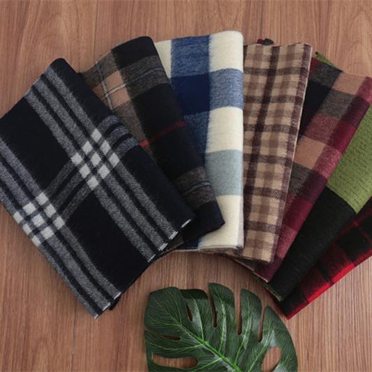 秋冬季男士纯羊毛格子围巾条纹围脖短款韩版年轻人蓝色百搭潮厚暖