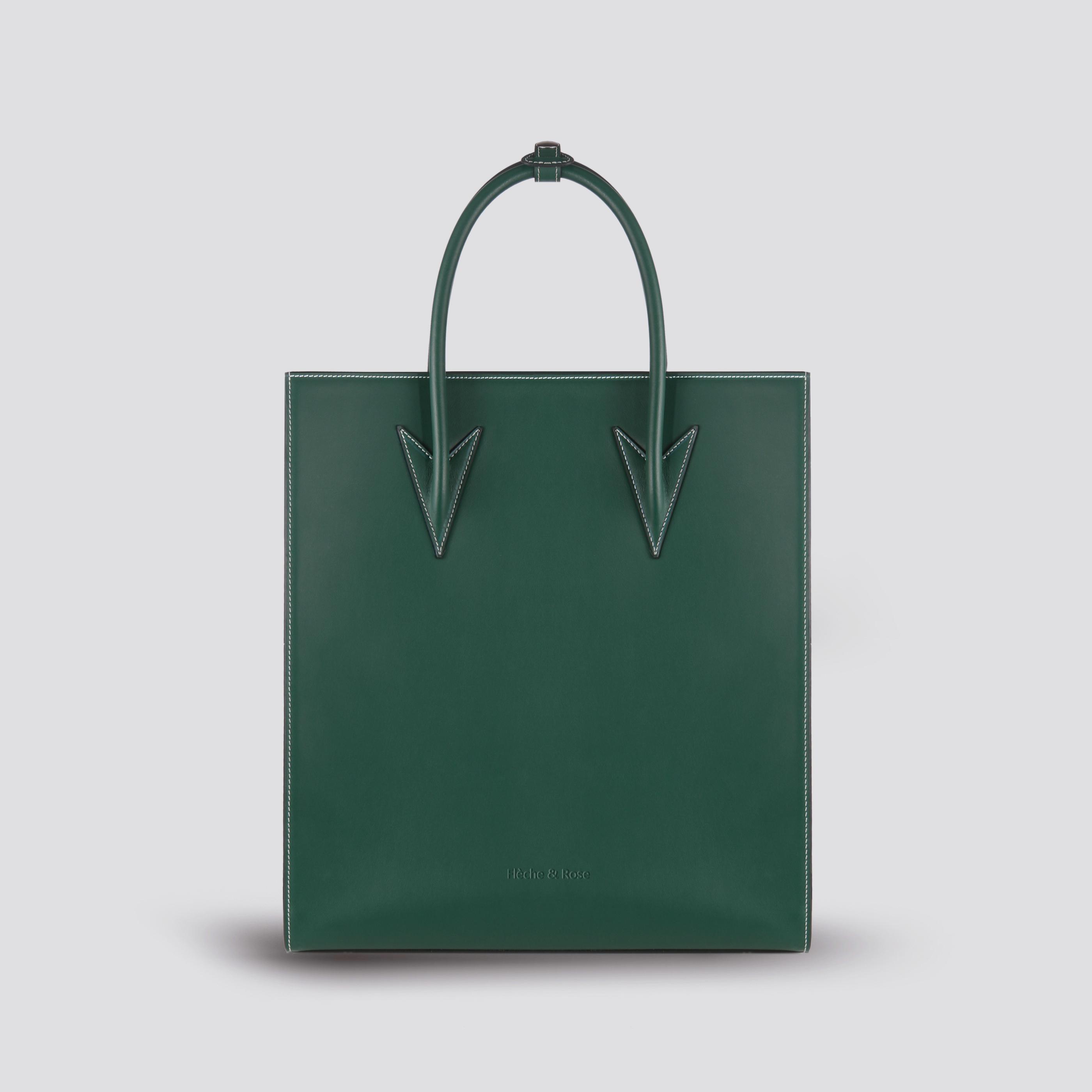 Fleche rose arrow handbag piano score bag vertical casual cowhide fashion large green