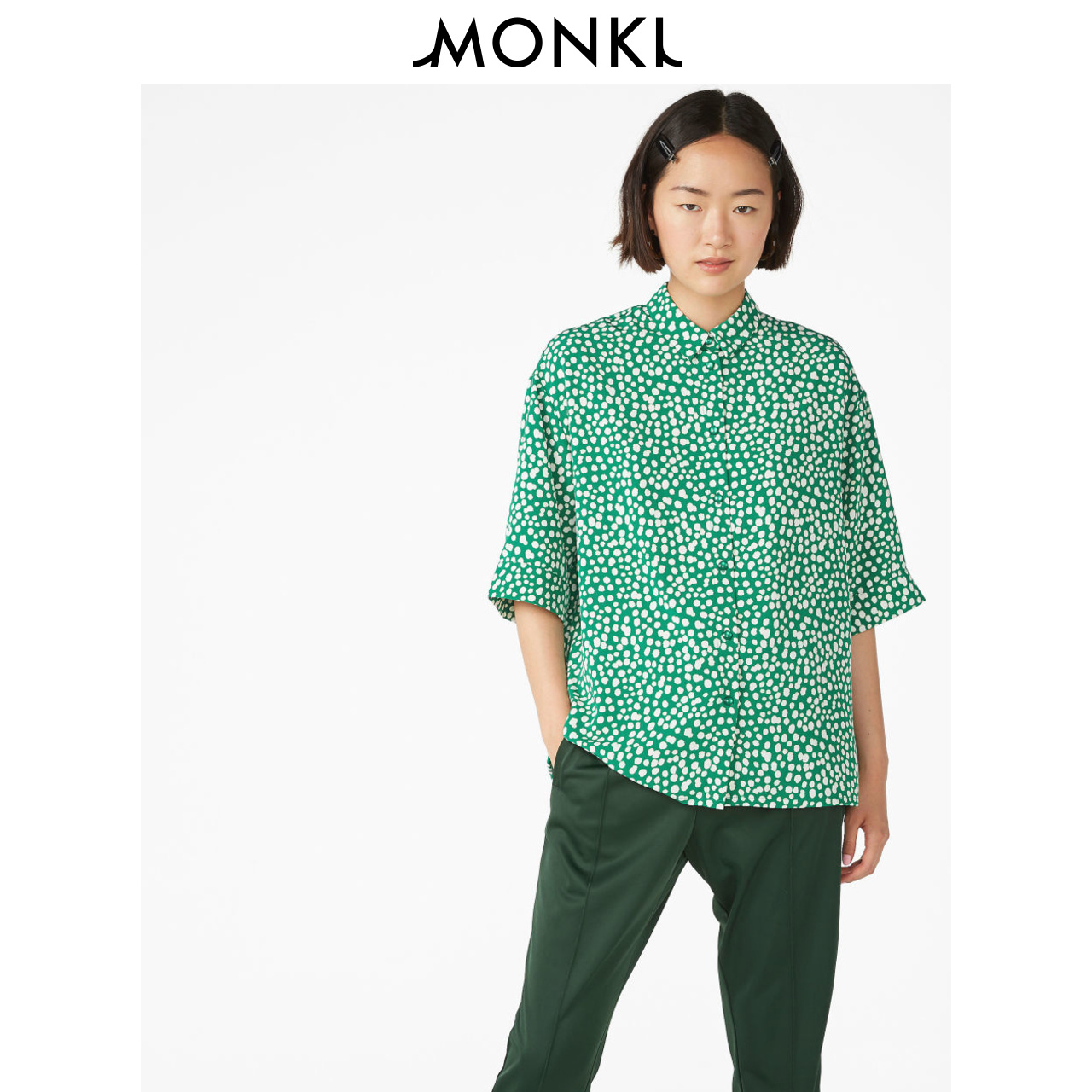 MONKI2018夏季新款经典宽松圆点碎花绿色翻领短袖衬衫女 0565209