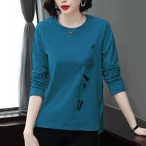 长袖t恤女中老年春秋新款纯棉宽松大码妈妈装外穿高档洋气打底衫